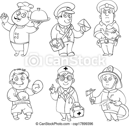 Professions Coloring Book Professionscook Postman Policeman