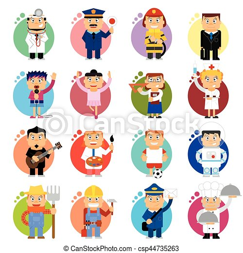 Professions Icons Vector Cartoon 16 Icons Of Jobs You Can Find Here Doctor Policman Firefighter Singer Dancer Nurse Canstock