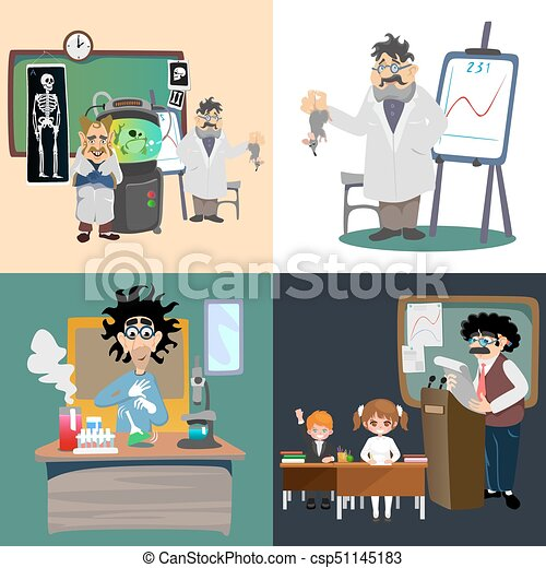 professor and student illustration, Girl and boy with teacher in college  classroom, vector campus university, education at school concept, lecturer