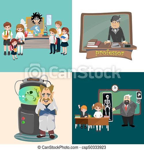 Professor and student illustration, girl and boy with ...