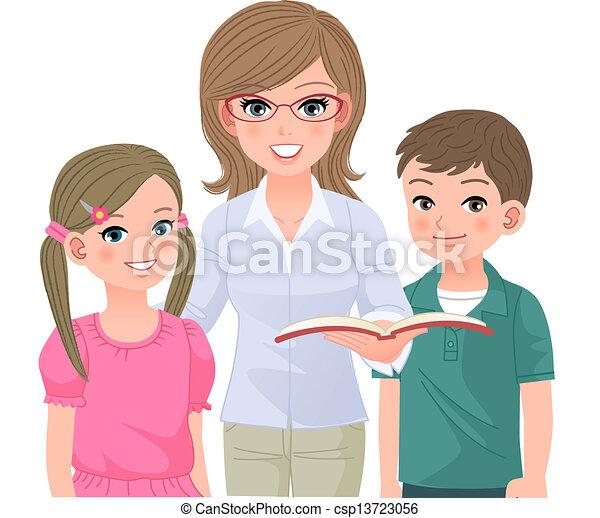 professor escola, feliz, pupilas - csp13723056