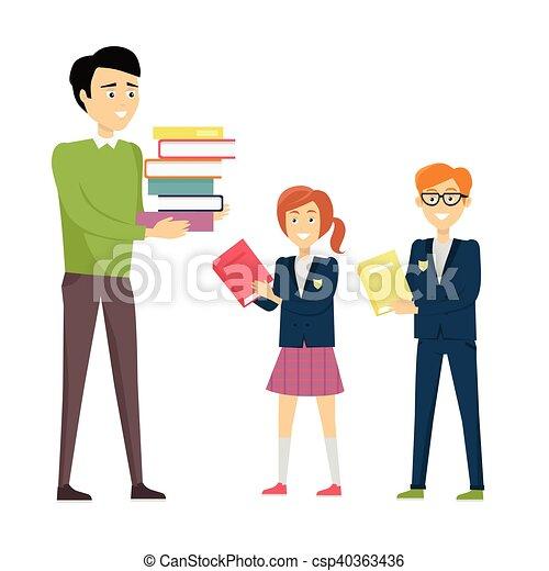 professor escola, pupilas - csp40363436