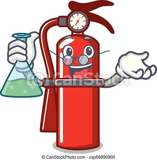Professor fire extinguisher character cartoon - csp56890900