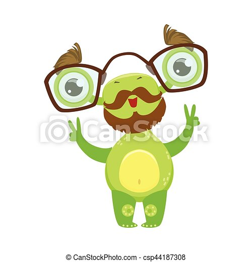 Professor Funny Monster With Beard And Glasses Green Alien Emoji