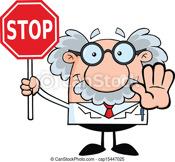 Professor mit einem Stoppschild - csp15447025