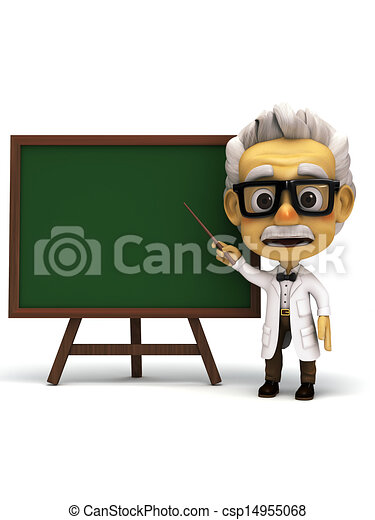 professor in front of green board  - csp14955068