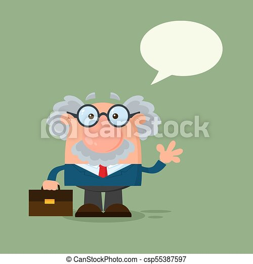 Professor Or Scientist Cartoon Character Waving With Speech Bubble - csp55387597