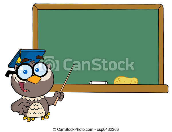Professor Owl And Chalk Board  - csp6432366