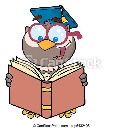 Professor Owl Reading - csp6432405