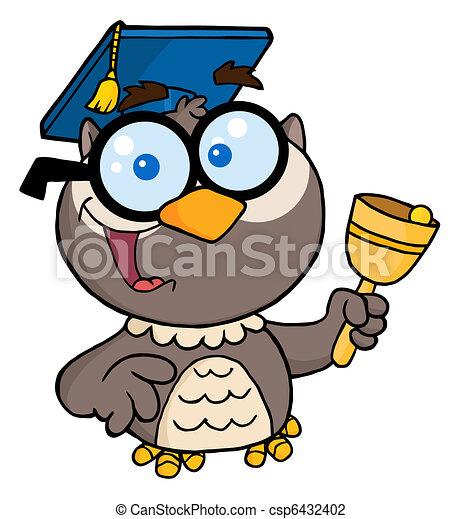 Professor Owl Ringing A Bell  - csp6432402