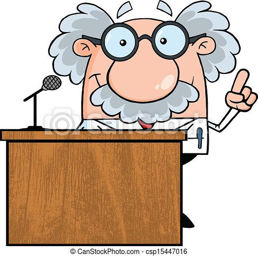 smiling scientist or professor present from podium vector clip art rh canstockphoto com podium clipart free podium clipart png