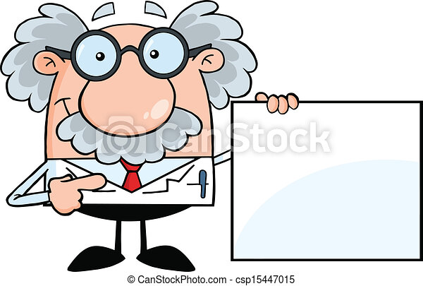 Professor Showing A Blank Sign - csp15447015