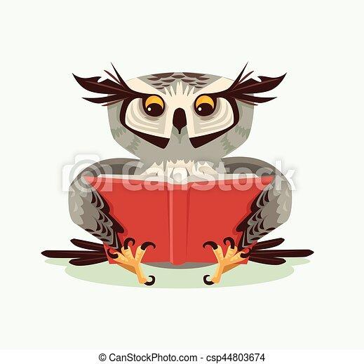 Professor wise owl character reading book. Vector flat cartoon illustration - csp44803674