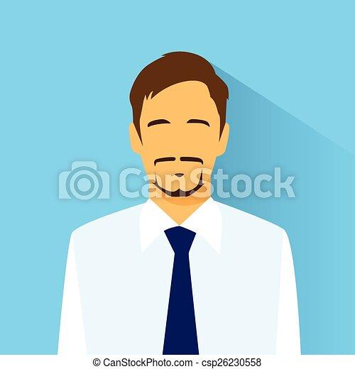 profiel, plat, verticaal, zakenman, mannelijke , pictogram - csp26230558