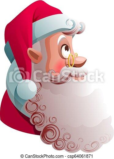 profil, auf., kopf, blick, claus, abbildung, weihnachten, santa, karikatur, ansicht - csp64061871