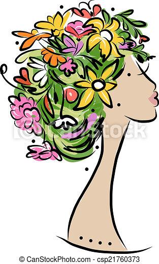 profil, coiffure, conception, femme, floral, ton - csp21760373