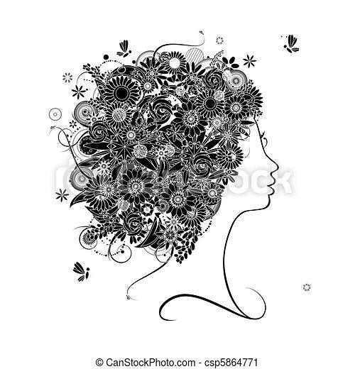 profil, coiffure, silhouette, conception, femme, floral, ton - csp5864771