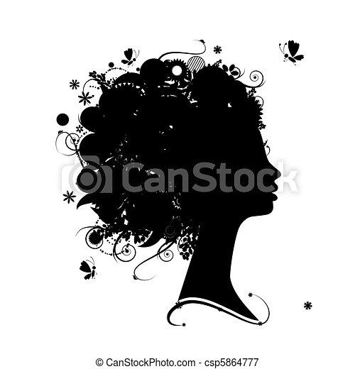 profil, coiffure, silhouette, conception, femme, floral, ton - csp5864777