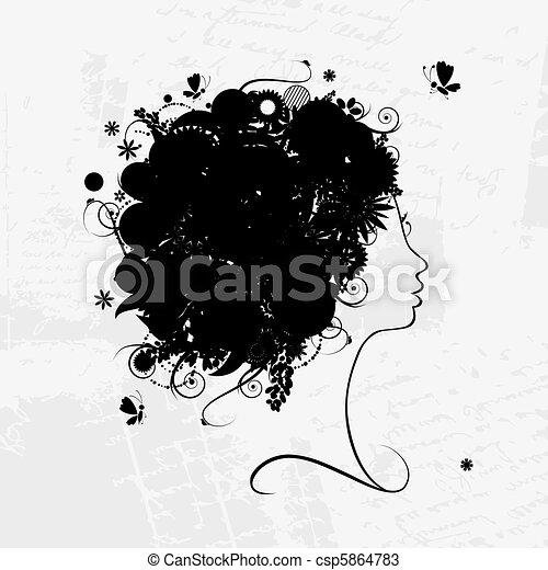 profil, coiffure, silhouette, conception, femme, floral, ton - csp5864783