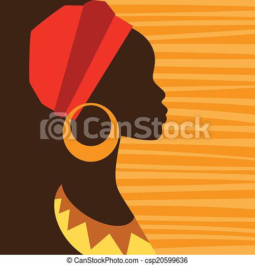 Silhouette der Afrikanerin im Profil mit Ohrringen. - csp20599636