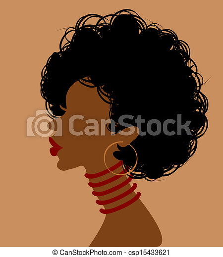 Afrikanische Frau im Profil - csp15433621