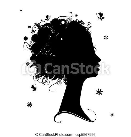 profil, frisur, silhouette, design, weibliche , blumen-, dein - csp5867986