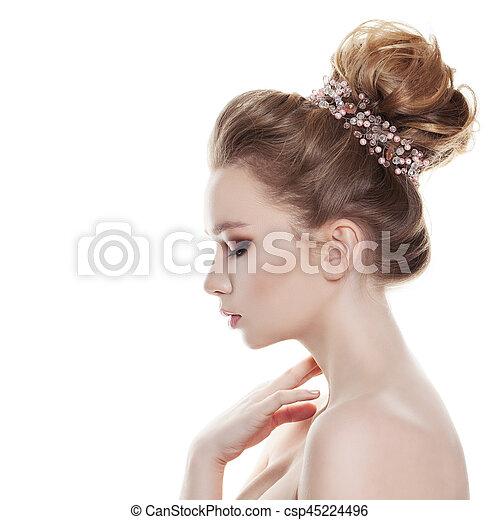 Profil Fryzura Kobieta Odizolowany Tło Wesele Biały