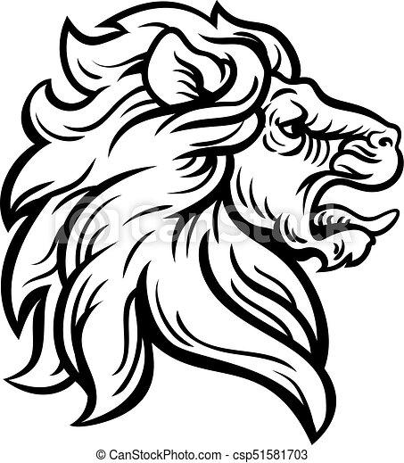 Profil Lion Concept Tête Woodcut