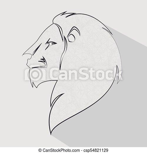 Profil Lion Tête Icône