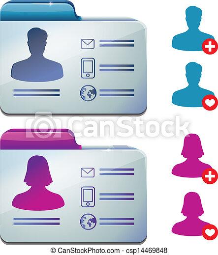 Weibliches und männliches Profil für soziale Medien - csp14469848
