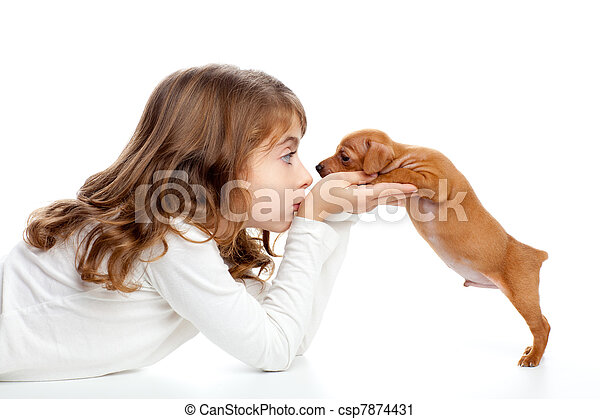 profil, mini, brunette, chien, girl, chiot, pinscher - csp7874431
