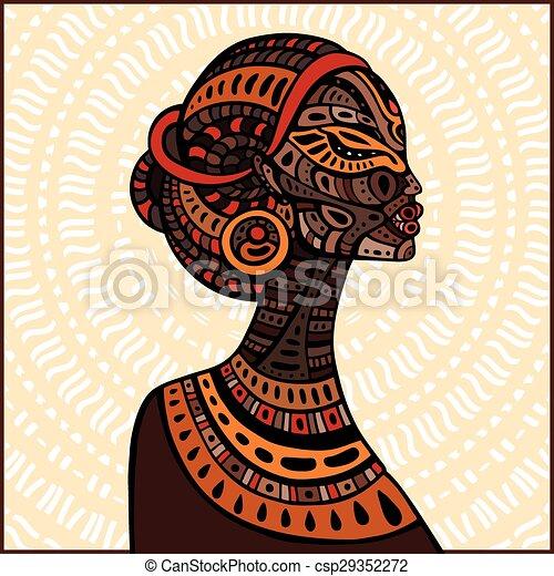 profil, piękny, woman., afrykanin - csp29352272
