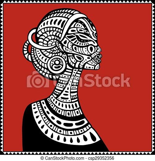 profil, piękny, woman., afrykanin - csp29352356