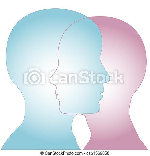 profil, silhouette, &, fusionner, femme, faces, mâle - csp1569058