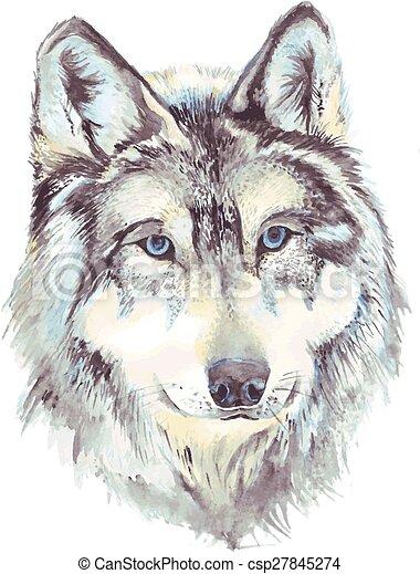Profil t te loup t te vecteur format aquarelle profile loup dessin - Tete de loup dessin ...