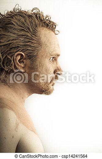 profile, грязный, кожа, covered, человек, грязи, обнаженный - csp14241564