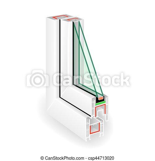 Perfil de ventana de plástico. Dos vidrios transparentes. Ilustración de vectores - csp44713020