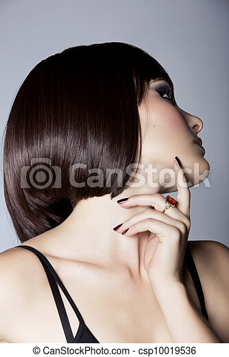 profile of a beautiful woman with short hair - csp10019536