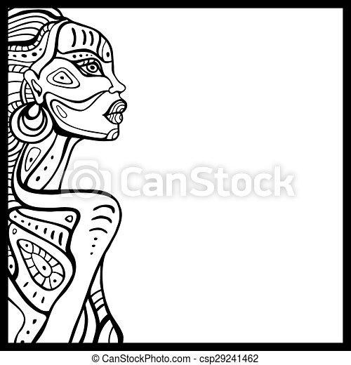 Profile of beautiful african woman. hand drawn ethnic ...