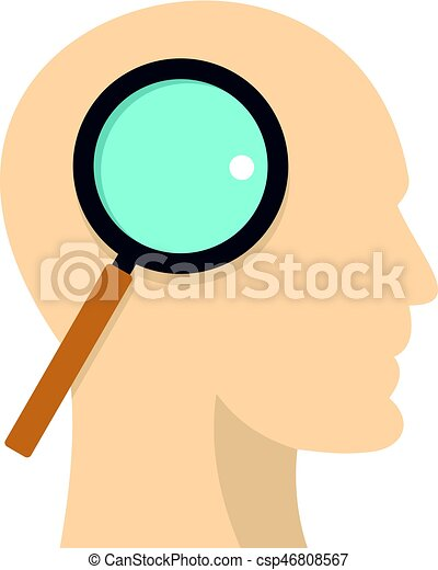 Profile of the head with magnifying glass icon - csp46808567
