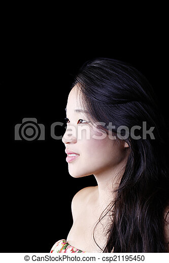 Profile Portrait Attractive Young Asian American Woman - csp21195450