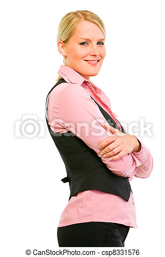 Profile portrait of smiling business woman with crossed arms on chest isolated on white  - csp8331576
