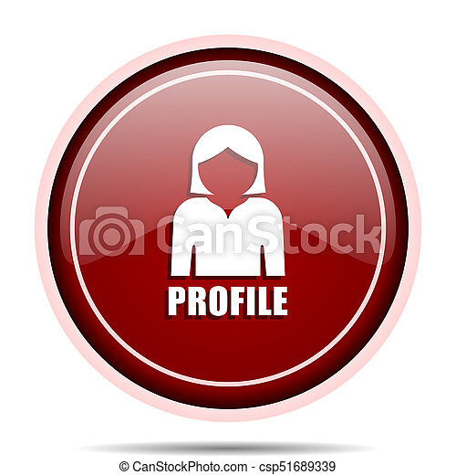 Profile red glossy round web icon. Circle isolated internet button for webdesign and smartphone applications. - csp51689339