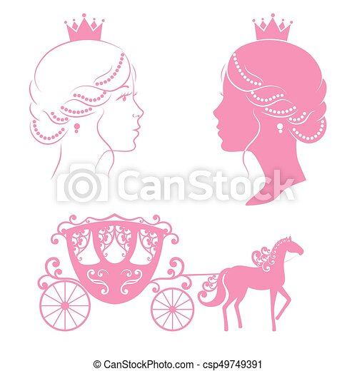 Profile silhouette of a princess and carriage. - csp49749391