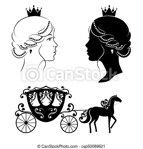 Profile silhouette of a princess and carriage. - csp50089621