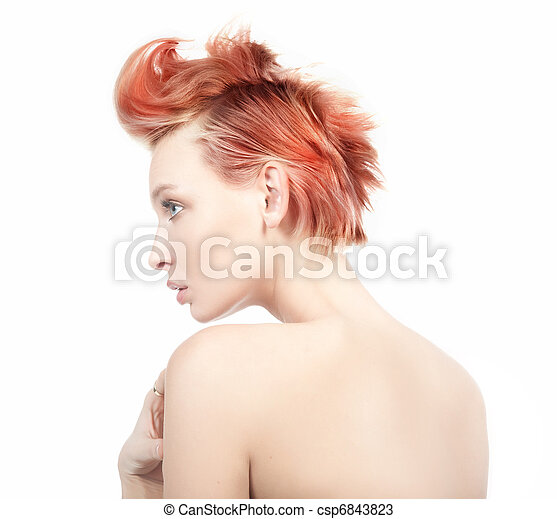 Profile view of a red haired woman - csp6843823