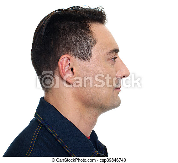profile view of smiling confident man isolated on white