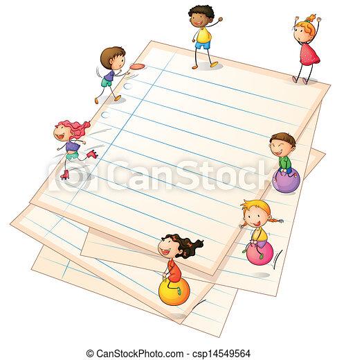profili di fodera, carta, bambini giocando - csp14549564