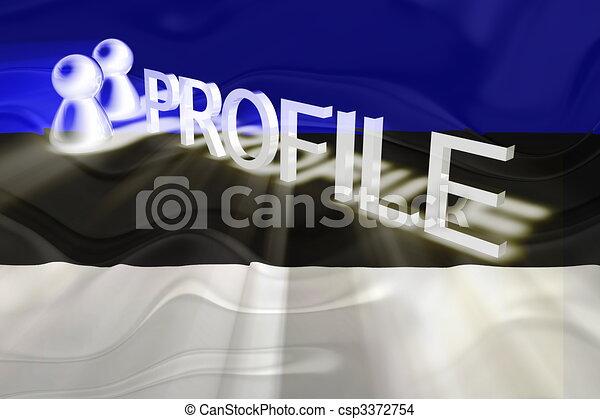 profilo, bandiera, ondulato, estonia - csp3372754