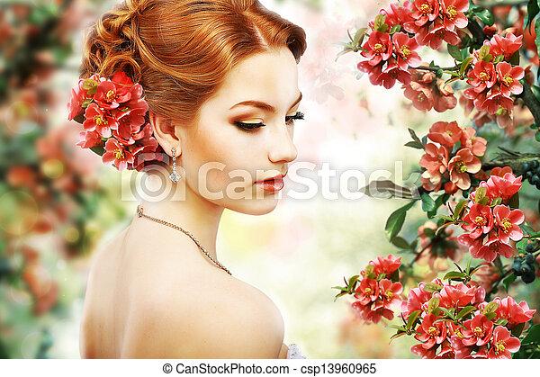 profilo, bellezza naturale, fiore, sopra, capelli, fondo., relaxation., floreale, nature., rosso - csp13960965